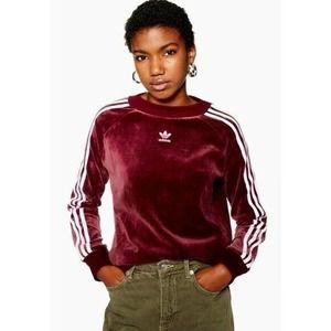 Adidas Sweatshirt Womens Size XS Maroon White Velvet Velour 3 Stripes Pullover